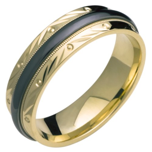 Marissa - Excellent 14K Yellow Gold And Black Titanium Wedding Band For Him And/Or Her