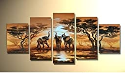 Modern Canvas Wall Art Decor African Forest Lake Elephant Home Decoration Landscape Oil Paintings on Canvas 5pcs/set