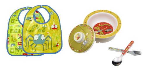 Sugarbooger Covered Bowl, Silverware, and 2 Bibs Set-Icky Bugs