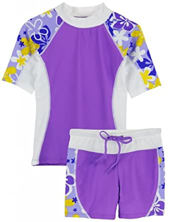 Tuga Girls Seaside S/S & Shorts (UPF 50+), Morado, 2/3 yrs