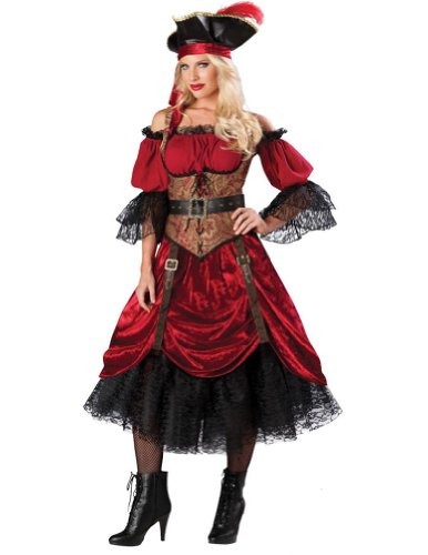 [Swashbucklin' Scarlet Costume - Medium - Dress Size 6-10] (Swashbucklin Scarlet Adult Costumes)