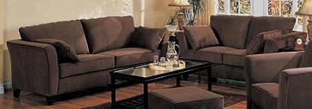 2PCS Contemporary Coco Brown Micro Fabric Sofa & Loveseat Set