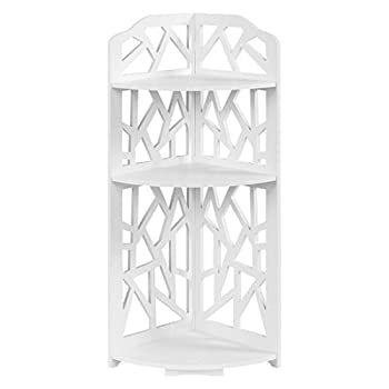 Finether 3-Tier Waterproof Shelf Unit Modern Storage Organizer Wood Plastic Composite Corner Shelf Display Free Standing Rack with Taller Bottom, for Bathroom and Living Rome, White