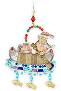 Pilgrim Imports Canoeing Santa Metal Fair Trade Ornament
