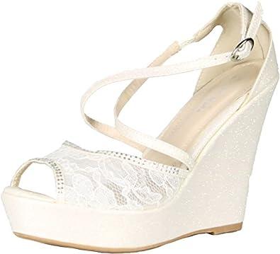 top moda womens white wedge lace rhinestone