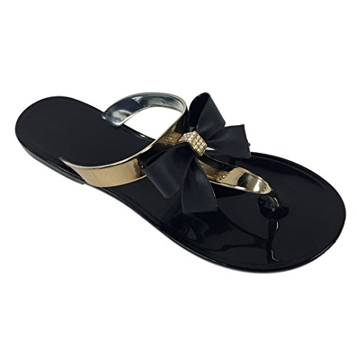 VeeVee Women's Jelly Sandals With Bow and Metallic straps - Black - Large