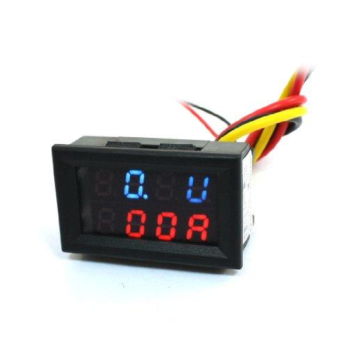 Dc Powered 0-100V 10A Digital Red Blue Led Volt Amp Test Panel Meter