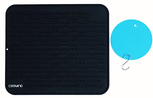 Coowind Silicone Quick Dish Drying Mat By Coowind- with Bonus Pot Trivet and S Hook-Extra Large 17.8