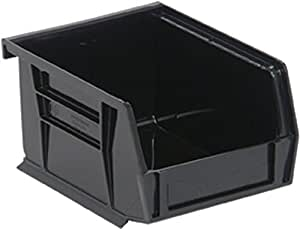 Quantum QUS210 Plastic Storage Stacking Ultra Bin, 5-Inch by 4-Inch by 3-Inch, Black Conductive, Case of 24