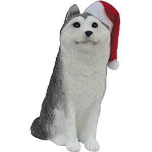 #!Cheap Sandicast Siberian Husky with Santa Hat Christmas Ornament