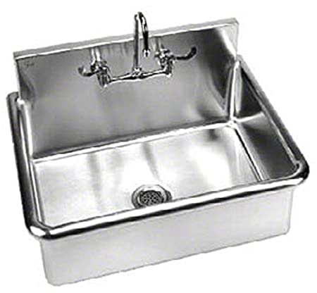 Just A-18664-T Single Compartment 14ga T-304 Stainless Steel Surgeons Wash Up Sink with Faucet and Drain