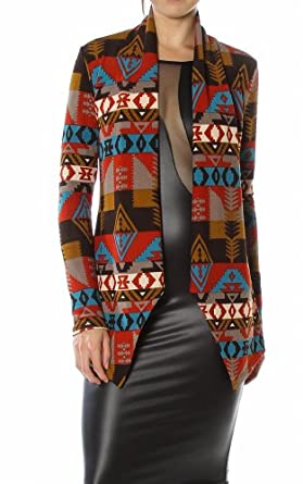 Pinkclubwear Aztec Tribal Print Open Shawl Collar Knit Cardigan-Black-Large