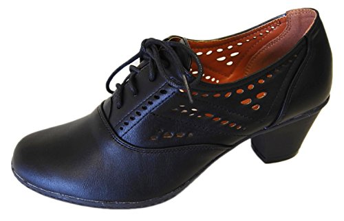 Refresh Women's London-01 Cutout Dressy Heeled Lace Up Oxford Shoe (10 B(M) US, Black)