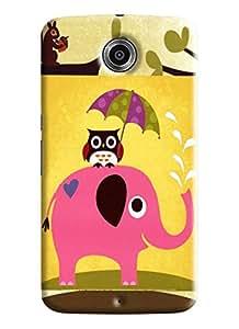 Blue Throat Elephant Carrying Owl On Back Printed Designer Back Cover/Case For LG Google Nexus 6