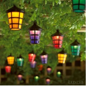 Set of 40 Mains Operated String Coloured Garden Indoor Outdoor Lantern Lights: Amazon.co.uk ...