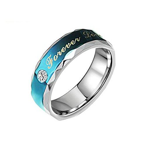 """Fr Couples Blue Stainless Steel """"Forever Love"""" Wedding Rings Set For Men,Size 8"""