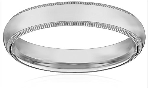 Women's 14k White Gold 4mm Comfort Fit Milgrain Plain Wedding Band, Size 6.5