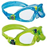 Aqua Sphere KIDS Seal 2 Pack Swim Goggles, Aqua + Lime (Color: Aqua & Lime - Clear Lens)