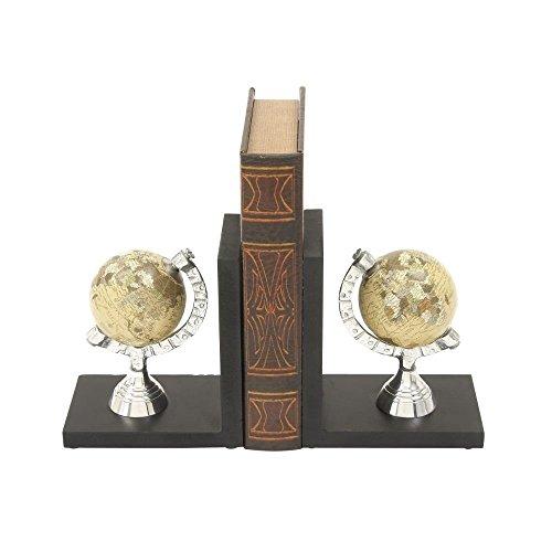 Deco 79 49611 Wood Aluminum Bookend Globe, 6