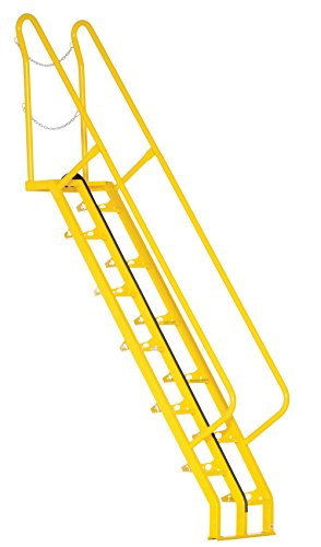 Vestil ATS-7-56 Alternating Tread Stair with 12 Steps, Steel, 126-1/8