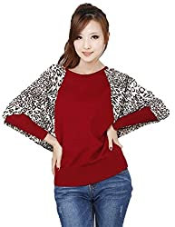 VIRTUAL STORE USA Red Long Sleeve Leopard Print Sweater