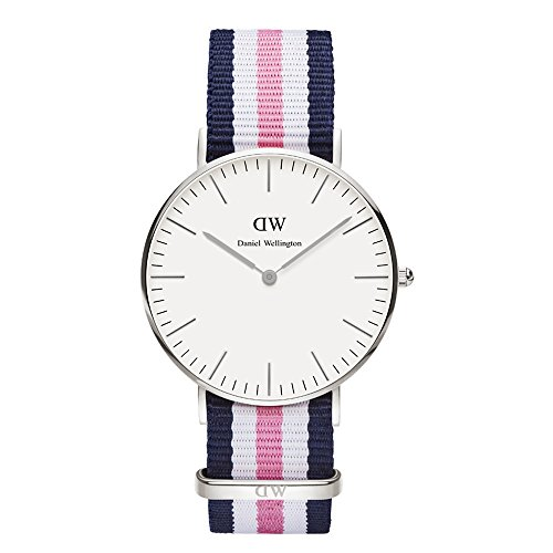 Daniel Wellington Southampton Silver Women's Quartz Watch with White Dial Analogue Display and Multicolour Nylon Strap 0605DW