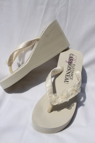 Ivory Wedge Bridal Flip Flops Sandals With Organza Flowers front-284202