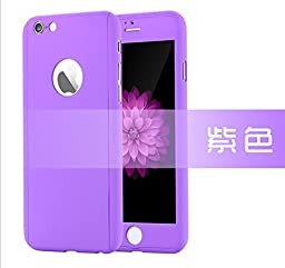 iPhone 6/6s 4.7 Inch Full Body Case-Superstart Purple Ultra Slim Front and Back PC Hard Cover + Tempered Glass Sreen Protector for iPhone 6/6s 4.7 Inch