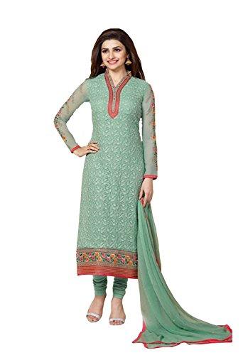 C&H Light Green Georgette Semi-Stitched Salwar Suits