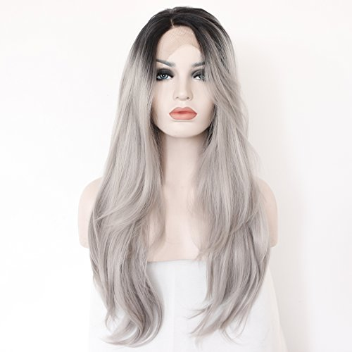K'ryssma Long Natural Straight Hair Ombre Black to Silver Grey Dark Roots Synthetic Wigs for Women Glueless Lace Front Wig Half Hand Tied Heat Resistant Fiber 22 inches