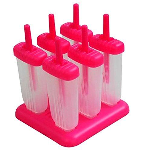 kommii 6cellules Rectangle en forme réutilisable DIY surgelés crème glacée Pop moules, moules à glace avec base (Vert/Rouge 6cellules) rouge
