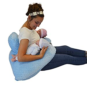 THE TWIN Z PILLOW - BLUE The only 6 in 1 Twin Pillow Breastfeeding, Bottlefeeding, Tummy Time & Support! A MUST HAVE FOR TWINS! - CUDDLE BLUE DOTS