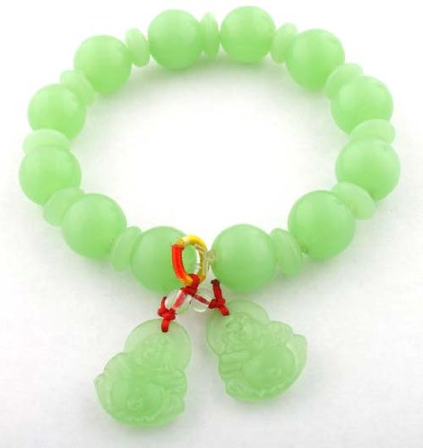 Jade Colored Glass Beaded Balls with Buddha Charms Shamballah Style Stretch Bracelet
