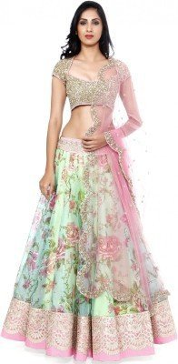 latests fashion Women's Goergette and Net Lehenga Choli (LF101_Free Size_Multi)
