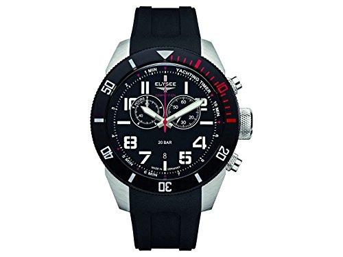 Elysee Yachting Timer reloj cronógrafo para hombre Correa de silicona del negro