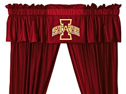 NCAA Iowa State Cyclones - 5pc Jersey Drapes Curtains and Valance Set(Drapes Size 82 X 63 in.)