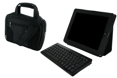 rooCASE 3n1 Dual Station Folio Full Genuine Leather (Black) / Bluetooth 2.0 Compact Slim Keyboad / Deluxe Carrying Bag (Black) for Apple iPad 3G Wi-Fi (For 1st Generation iPad, NOT for new iPad 2 release March 2011)