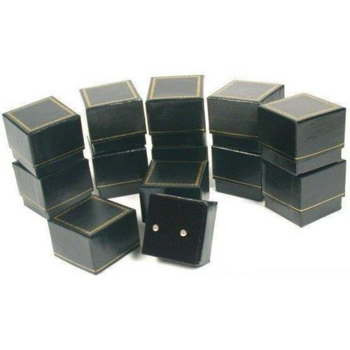 12 Earring Gift Boxes Black Gold Showcase Display by FindingKing