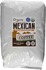 Mexican SWP Decaf Organic Coffee, Whole Bean, Swiss Water Processed Decaf Coffee, Fresh Roasted Coffee LLC. (5 lb.)