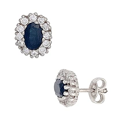 SAFIR Sapphire Stud Earring Blue & White Zircons 925 Silver Ladies Oval Round