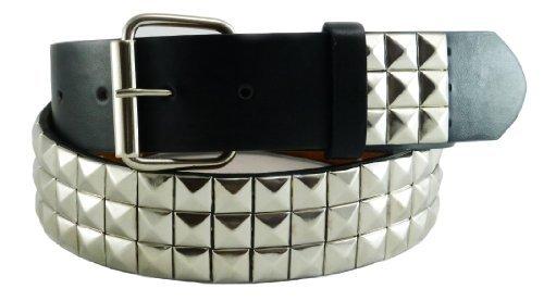 Nice Shades Punk Studded Leather/Faux Bonded Snap On Belt Black & Chrome X-Large