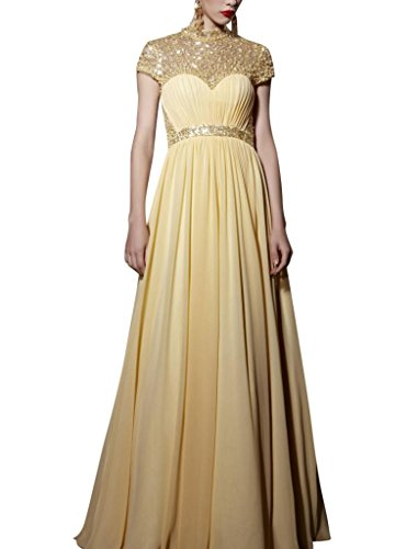 Kingmalls Womens Gold Halter Beads Mix Sequin Feather Shape Prom Dress