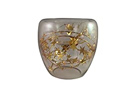 Festiva Small Clear Glass Bowl for Floating Candle With Decorative Garland (Gold Garland)