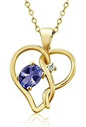 0.46 Ct Oval Blue Tanzanite White Sapphire 18K Yellow Gold Plated Silver Pendant