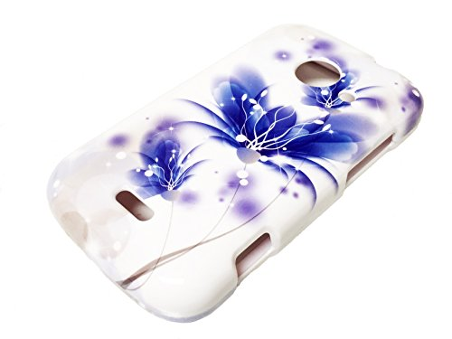 For ZTE Z667 Zinger Prelude 2 Whirl 2 Z667G Hard Phone Cover Hard Faceplate Case Accessories + Happy Face Phone Dust Plug (Blue White Lotus) (Phone Cases For Model Z667g compare prices)