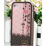 Brown and Pink Polka Dot Pattern Hard Case with Red Heart Love Design For the NEW Apple iPhone 5 (AT&T, Verizon, Sprint)