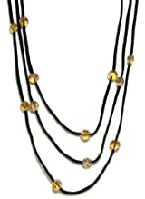 Rush Collection Genuine Black Leather 3 Strand Necklace With Topaz Colored Faceted Crystal Stations