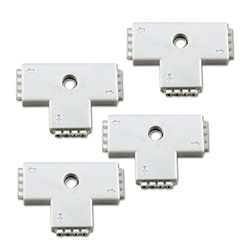 Zitrades 4X 4-Pins T-Shape 3-Ends Female Connector For Led Rgb 5050 Flex Strip Light By Zitrades