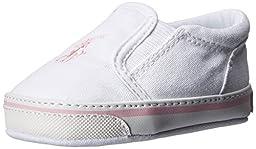 Ralph Lauren Layette Balmount Slip On (Infant/Toddler), White/Pink, 1 M US Infant