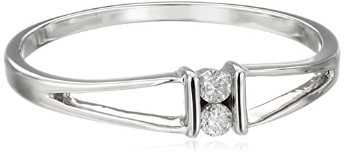 10k White Gold 2-Stone Split-Bale Diamond Ring (0.08 cttw, J-K Color, I2-I3 Clarity), Size 7